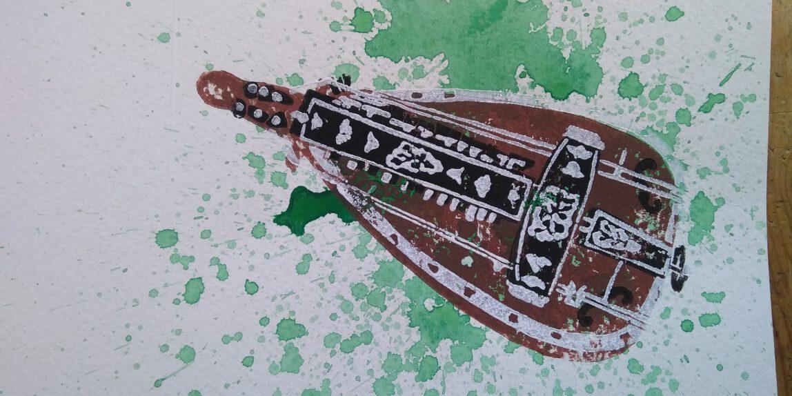 Vielle a Roue, Linoldruck auf Aquarell