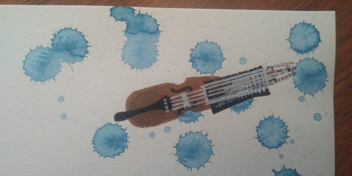 Nyckelharpa, Linoldruck auf Aquarell