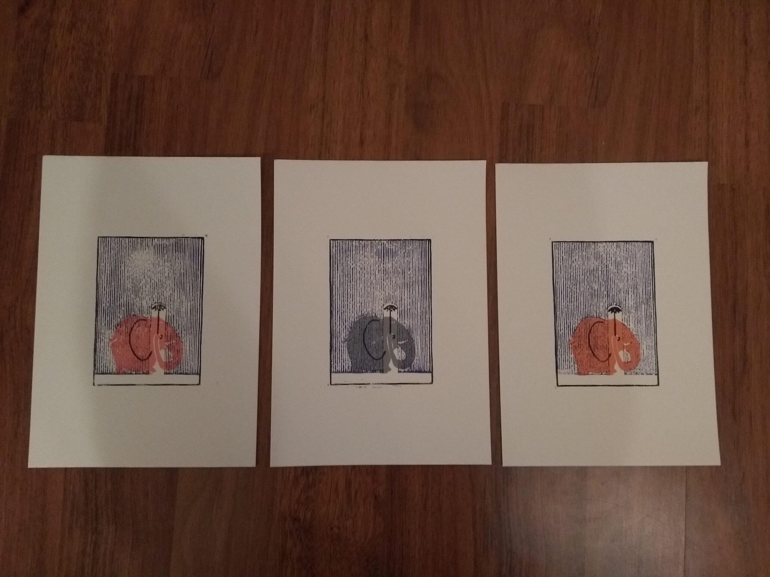 Drei Elefanten, Linoldruck
