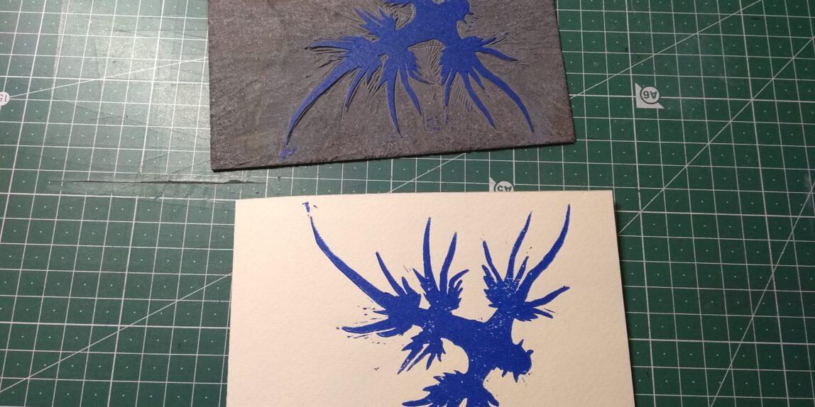 Testdruck und Stempel, Linoldruck